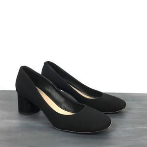 Donald Pliner block heel black gore pumps